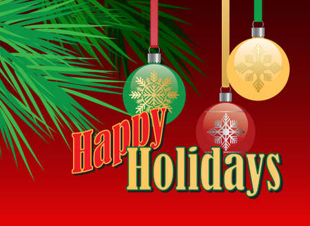 Graphic composition of holiday ornaments and stylized Christmas tree branches on a red background with the message Happy Holidays for possible use as greeting card or banner.