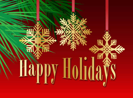 Graphic composition of golden holiday snowflake ornaments and stylized Christmas tree branches on a red background with the message Happy Holidays for possible use as greeting card or header.