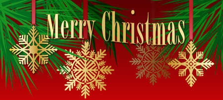 Graphic composition of golden holiday snowflake ornaments and stylized Christmas tree branches on a red background with the message Merry Christmas for possible use as greeting card or header.