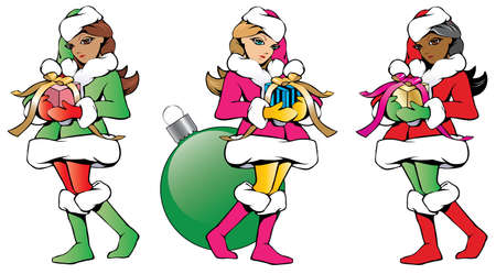 Collection of three isolated sketch illustrations of pretty Santa helpers bearing gifts with ribbons.