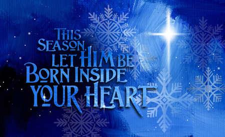 Grafische Zusammensetzung eines christlichen Weihnachtsgefühls und des Angebots, geistig wiedergeboren zu werden. Konzeptkunst geeignet für Feiertagsgrußkarten oder andere weihnachtliche Projekte.