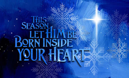 Graphic composition of a Christian Christmas sentiment and offer to be spiritually born again. Conceptual art suitable for holiday greeting card or other Christmas themed projects. Stok Fotoğraf
