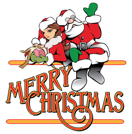 Graphic composition of Santa Claus and cute girl helper and type design of the holiday phrase Merry Christmas.