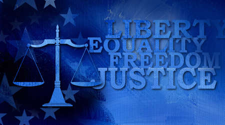 Graphic illustration of Scales of Justice icon with stars and large type Liberty, Equality, freedom and justice on abstract oil paint background.