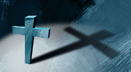 Graphic illustration of the Christian cross of Jesus Christ casting a long shadow against paint stroke, textured abstract background.