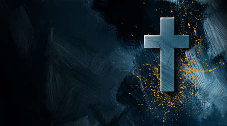 Graphic illustration of the Christian cross of Jesus Christ with grunge type splatter signifying His blood bought salvation.