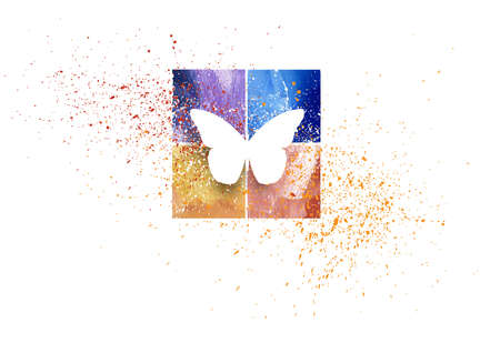 Graphic composition of iconic butterfly shape, symbolic of change and new life, against abstract colorful squares and paint splatter. Bright lively design for possible seasonal or nature themed projects. Stok Fotoğraf
