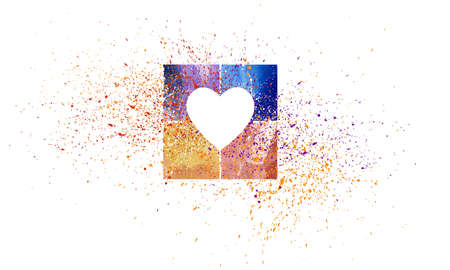 Graphic abstract composition of a heart celebrating love with colorful squares and a fireworks splatter of paint.