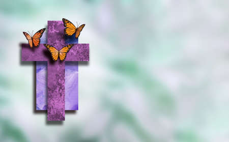 Graphic composition of the Christian cross of Jesus Christs crucifixion with butterflies, signifying new life, new beginnings. Conceptual art suitable for Easter or other religious themed applications and backgrounds.