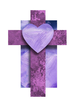 Graphic composition of the Christian cross of Jesus Christ's crucifixion with iconic heart shape. Conceptual art suitable for Easter or other religious themed applications and backgrounds. 版權商用圖片 - 121864571