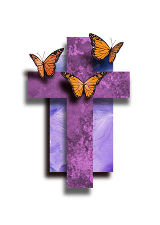 Graphic composition of the Christian cross of Jesus Christs crucifixion with butterflies, signifying new life, new beginnings. Conceptual art suitable for Easter or other religious themed applications.
