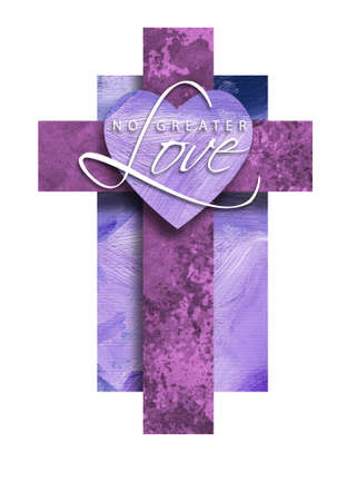 Graphic composition of the Christian cross of Jesus Christs crucifixion with iconic heart shape and text sentiment of No Greater Love. Conceptual art suitable for Easter or other religious themed applications and backgrounds.