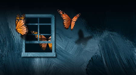 Graphic illustration of iconic butterflies escaping an open window to freedom. Art includes paint brush stroke texture. Simple, dramatic art for variety of concepts including lack of freedom, and discovery of freedom. Stock Photo