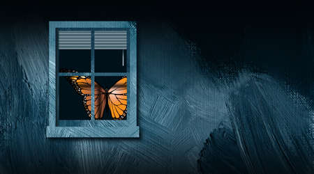 Graphic illustration of iconic butterfly peering out from behind a closed window. Art includes paint brush strokes texture. Simple, dramatic art for variety of concepts including loneliness, and shut ins. Foto de archivo - 121864576
