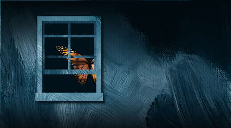 Graphic illustration of iconic butterfly peering out from an opened window. Art includes paint brush strokes texture. Simple, dramatic art for variety of concepts including solitude, loneliness and opportunities for escape.