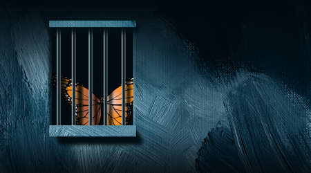 Graphic illustration of iconic butterfly peering out from behind a prison bar window. Art includes paint brush strokes. Simple, dramatic art for variety of concepts including justice, loneliness, and loss of freedom.
