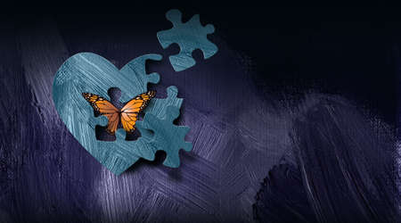 Graphic illustration of iconic butterfly releasing out of heart through a puzzle piece shape. Art applicable for various metaphoric concepts of emotions and feelings ranging from sadness to happiness.