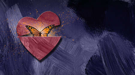 Graphic illustration of iconic butterfly releasing out of newly opening heart. Art applicable for various metaphoric concepts of changes in emotions and feelings ranging from sadness to happiness.