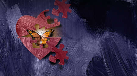 Graphic illustration of iconic butterfly emerging out of heart through a puzzle piece shape. Art applicable for various metaphoric concepts of emotions and feelings ranging from sadness and shyness to happiness and self confidence. Stock Photo