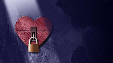 Graphic illustration of iconic heart closed and locked with padlock. Art applicable for various metaphoric concepts of emotions and feelings such as sadness, isolation and loneliness.