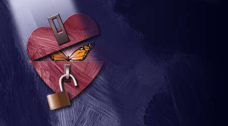 Graphic illustration of iconic butterfly peeking out from an unlocked heart as it opens. Art applicable for a various metaphoric range of concepts of emotions and feelings.