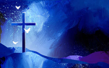 Conceptual graphic illustration of Christian cross with three white doves, symbolizing Jesus Christs sacrificial work of salvation. Artwork composed against abstract oil painted background with texture, grunge effect.