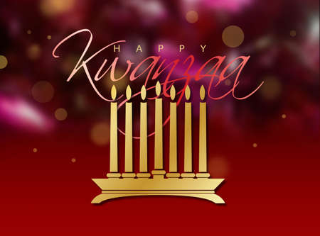 Simple yet elegant graphic design celebrating the cultural Afro-American, Pan-African year end celebration of Kwanzaa. Art suitable for related greeting cards, backgrounds, headers, etc.