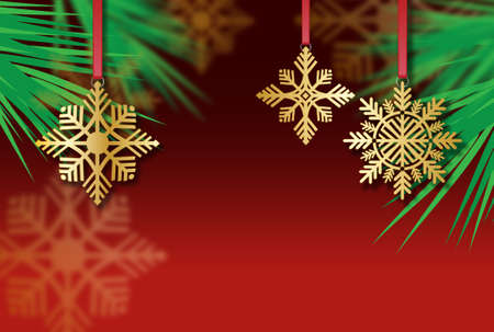 Simple yet elegant Christmas graphic of golden Snowflake tree ornaments with space for custom message. Colorful art suitable for holiday season greeting cards, headers and banners.