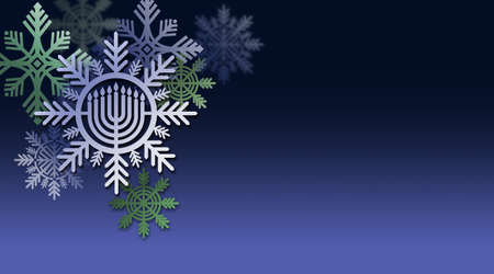 Graphic illustration of Hanukkah Menorah with snowflake ornaments and clear copy space for custom holiday message. Art suitable for use with Jewish holiday celebration themes including greeting cards, headers and banners, etc.
