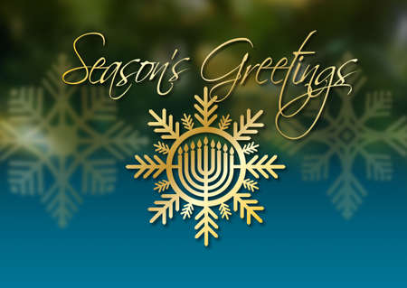 Graphic illustration of Hanukkah Menorah with Season's Greetings holiday message. Art suitable for use with Jewish holiday celebration themes including greeting cards, headers and banners, etc.