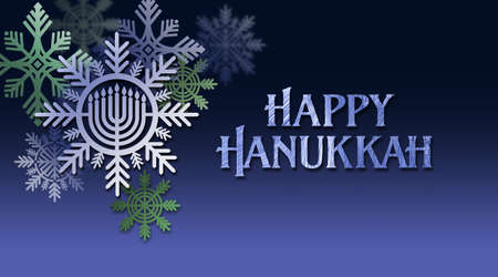 Graphic illustration of Hanukkah Menorah with Happy Hanukkah holiday message. Art suitable for use with Jewish holiday celebration themes including greeting cards, headers and banners, etc. Stock Photo