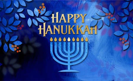 Graphic illustration of Hanukkah Menorah with Happy Hanukkah holiday message amid simple cluster of textured holly leaves and berries. Art suitable for use with Jewish holiday celebration themes including greeting cards, headers and banners, etc.
