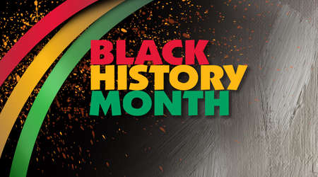 Graphic design of the phrase Black History Month with decorative red, gold and green ribbons and hand paintd, brush stroke background. Use as background for various cultural projects so themed. 版權商用圖片 - 138196657