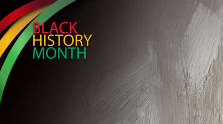 Graphic design of the phrase Black History Month with decorative red, gold and green ribbons. Use as background for various cultural projects so themed.