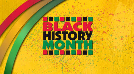 Graphic design of the phrase Black History Month with decorative red, gold and green ribbons against bright yellow, ink splattered grunge ground. Use as background for various cultural projects so themed. 版權商用圖片 - 138197192