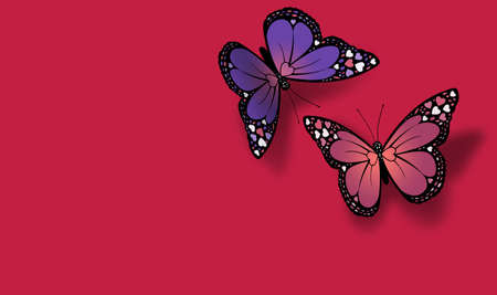 Pair of graphic Valentine butterflies greet each other against bright red holiday background. Butterflies stylized with Valentine hearts on their wings. Possible header or greeting card use. 版權商用圖片