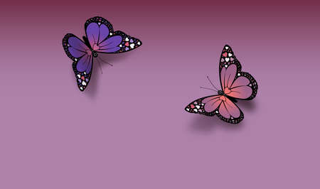 Pair of iconic Valentine butterflies greet each other against soft lavender background with space for type message. Butterflies stylized with Valentine hearts on their wings. Possible header or greeting card use.