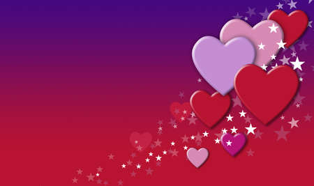 Graphic design of Hearts and stars against colorful purple and red gradient. Art suitable for Valentine projects and other playful upbeat themes. 版權商用圖片