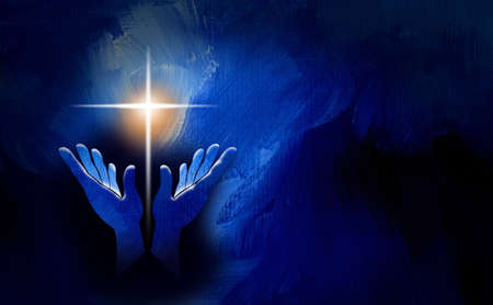 Graphic conceptual illustration of worshipping hands and glowing Christian cross of Jesus. Art suitable for Easter holiday themes and Christian graphics including greeting cards and headers.