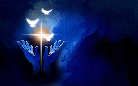 Graphic conceptual illustration of worshipping hands and glowing Christian cross of Jesus and spiritual doves. Art suitable for Easter themes and Christian graphics. Stock Photo