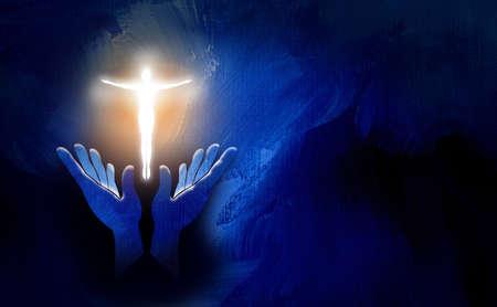 Grafische konzeptionelle Darstellung der Anbetung der Hände und der leuchtenden menschlichen Form in Form des christlichen Kreuzes Jesu. Kunst für Osterauferstehungsthemen und spirituelle Grafiken.