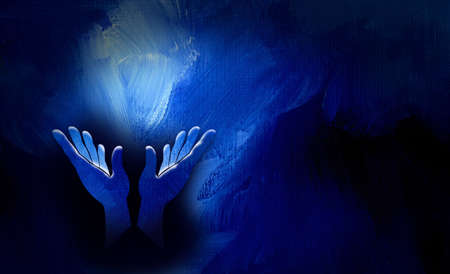 Graphic conceptual illustration of worshipping hands. Art suitable to represent religious themes of prayer, praise, reaching or release. Background art composed with brushstroke textured effect.