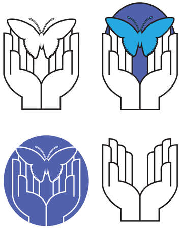 Graphic illustration of pair of hands gently releasing or capturing iconic butterfly. Original art in four alternate versions