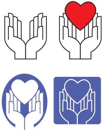Graphic illustration of pair of hands gently offering or accepting an iconic love heart. Art presented in four alternate variations.