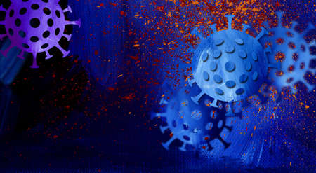 Graphic conceptual illustration of Coronavirus cells background header. Colorful, abstract design uses original paint spatters and brush strokes.