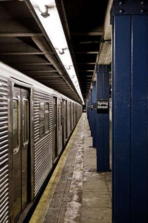 New York City Subway train at platform photo