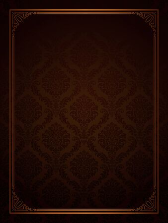 Seamless damask with ornamental frame  Иллюстрация