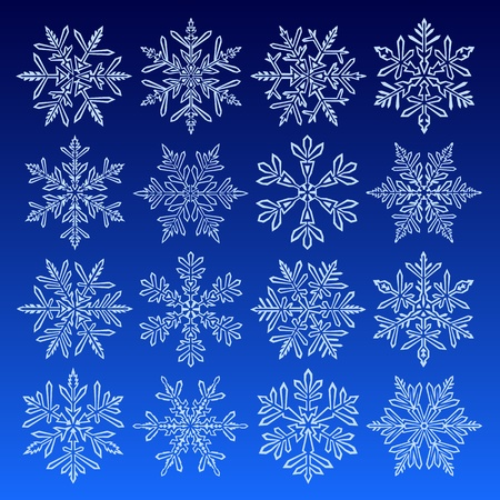 Icon set with 16 different snowflakes