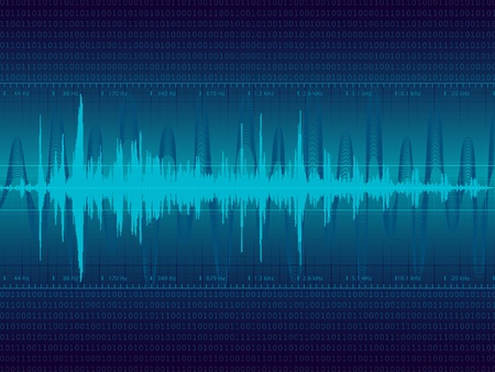 Audio Waveform vector background (only linear gradients)  Ilustracja