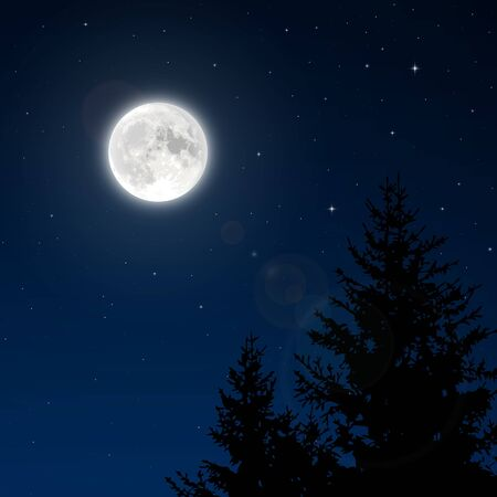 Volle maan met lens flare